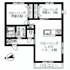 2LDK Apartment in Gohongi - Meguro-ku Floorplan