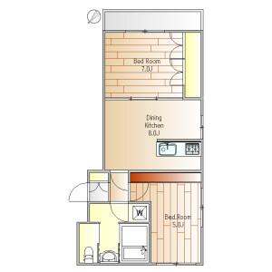 2DK Mansion in Kamiosaki - Shinagawa-ku Floorplan