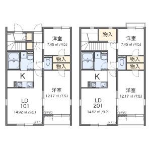 2LDK Apartment in Tajii - Sakai-shi Mihara-ku Floorplan