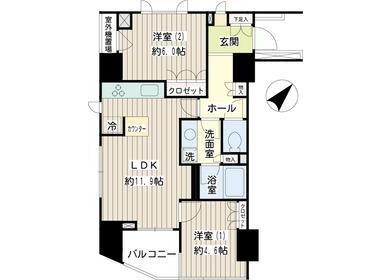 在目黒区内租赁2LDK 公寓 的 楼层布局