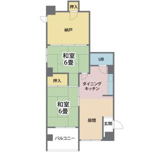 2DK {building type} in Motomachi - Osaka-shi Naniwa-ku Floorplan