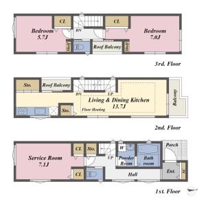 2LDK {building type} in Nishiogu - Arakawa-ku Floorplan