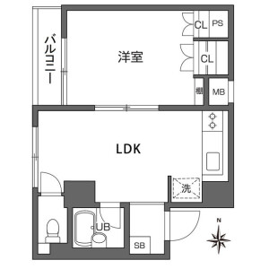 1LDK Mansion in Higashinippori - Arakawa-ku Floorplan
