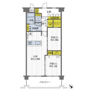 2LDK {building type} in Hommachi - Toyonaka-shi Floorplan