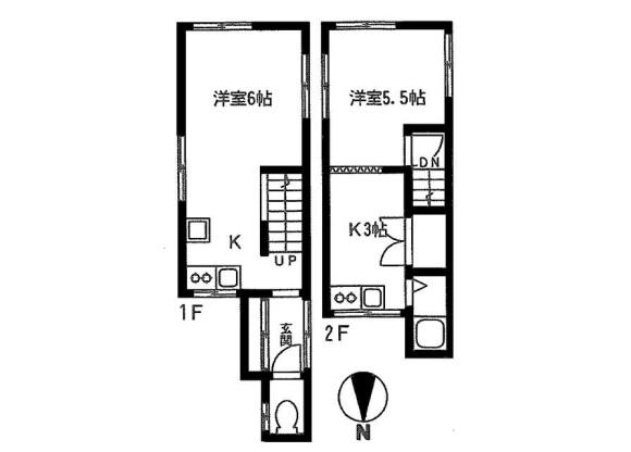 在杉並區內租賃2K 獨棟住宅 的房產 房間格局