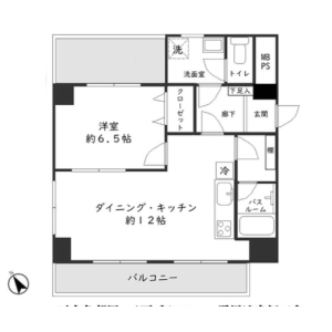 1LDK {building type} in Nihombashihamacho - Chuo-ku Floorplan