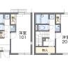 在八王子市内租赁1K 公寓 的 楼层布局