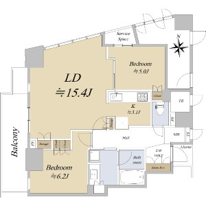 2LDK {building type} in Koraibashi - Osaka-shi Chuo-ku Floorplan
