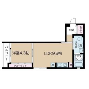 1LDK Apartment in Kamiikedai - Ota-ku Floorplan