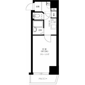 1K Mansion in Fuchucho - Fuchu-shi Floorplan