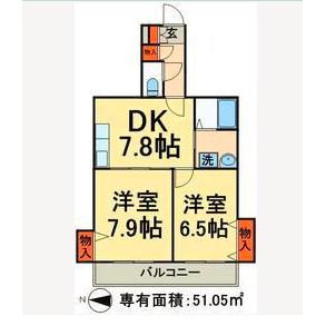2DK Apartment in Nishikameari(1.2-chome) - Katsushika-ku Floorplan