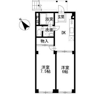2DK Apartment in Hanazumi - Kasukabe-shi Floorplan