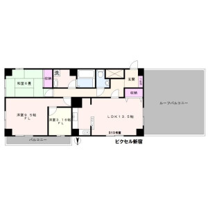 新宿區新宿-3LDK公寓大廈 房間格局