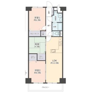 3LDK {building type} in Miyahara - Osaka-shi Yodogawa-ku Floorplan