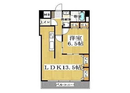 1LDK Apartment to Rent in Osaka-shi Naniwa-ku Floorplan