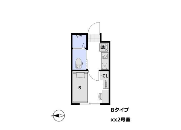 在荒川区内租赁1K 公寓大厦 的 楼层布局