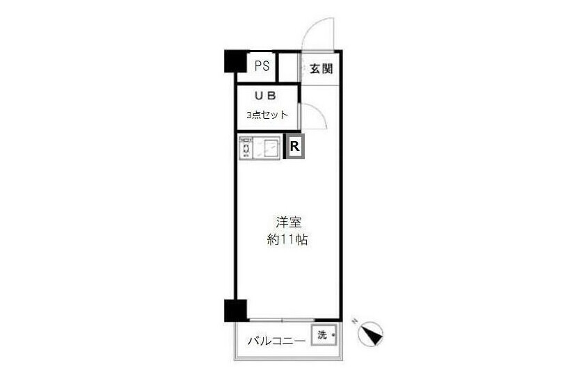 1R Apartment to Buy in Yokohama-shi Tsurumi-ku Floorplan