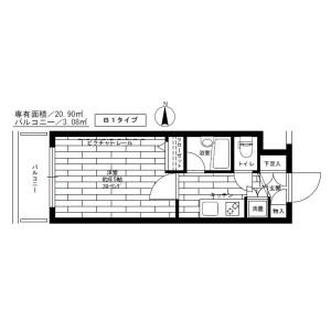 1K Mansion in Shimoigusa - Suginami-ku Floorplan