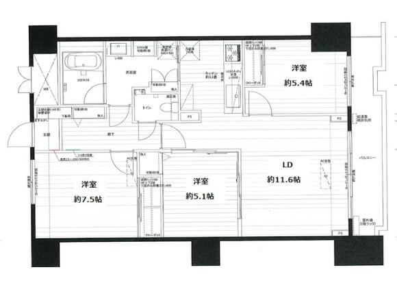 3LDK Apartment to Rent in Toshima-ku Floorplan