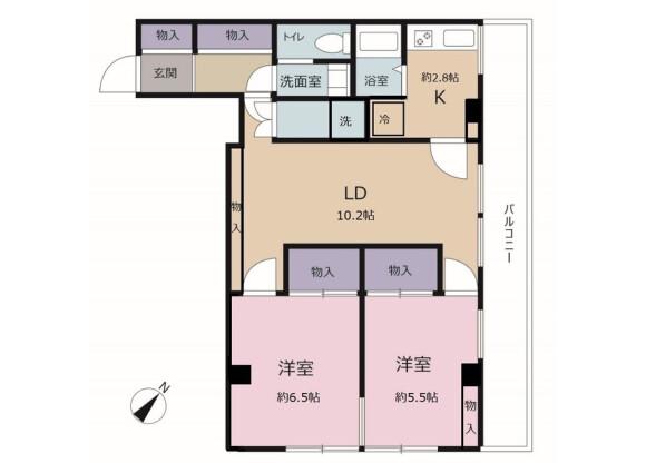 2LDK Apartment to Rent in Chiba-shi Chuo-ku Floorplan