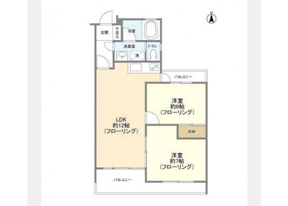 2LDK Apartment to Rent in Kawasaki-shi Miyamae-ku Floorplan