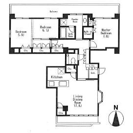 3LDK Mansion in Daikyocho - Shinjuku-ku Floorplan