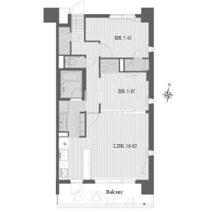 2LDK Apartment in Hongo - Nagoya-shi Meito-ku Floorplan