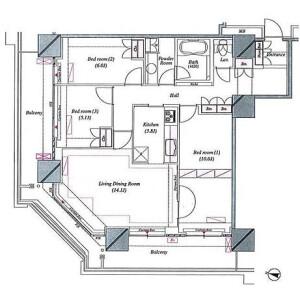 3LDK Mansion in Nakamaruko - Kawasaki-shi Nakahara-ku Floorplan