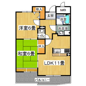 2LDK Mansion in Higashinodamachi - Osaka-shi Miyakojima-ku Floorplan