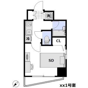 1K Apartment in Shimbashi - Minato-ku Floorplan