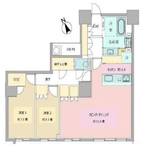 2LDK {building type} in Nishishinjuku - Shinjuku-ku Floorplan