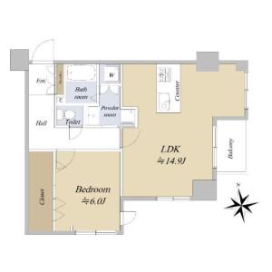 1LDK {building type} in Azabujuban - Minato-ku Floorplan