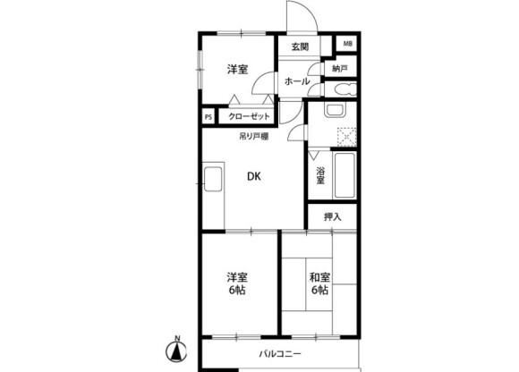 3DK Apartment to Rent in Yokohama-shi Totsuka-ku Floorplan