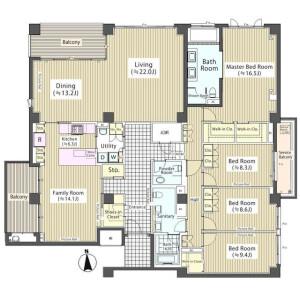 4LDK Mansion in Takanawa - Minato-ku Floorplan