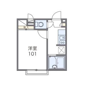 越谷市神明町-1K公寓 房間格局