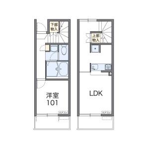 1LDK Apartment in Higashiosawa - Koshigaya-shi Floorplan