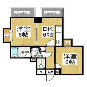 2DK Mansion in Shikitsunishi - Osaka-shi Naniwa-ku Floorplan