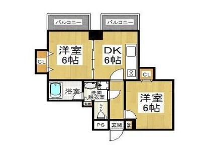 2DK Apartment to Rent in Osaka-shi Naniwa-ku Floorplan