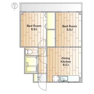 2DK Apartment in Tsurumaki - Setagaya-ku Floorplan