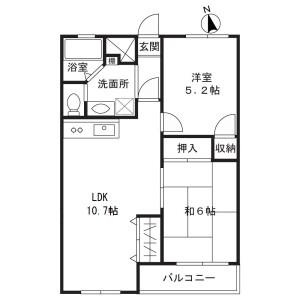 2LDK Mansion in Nagao - Kawasaki-shi Tama-ku Floorplan