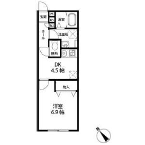 1DK Apartment in Shindencho - Chiba-shi Chuo-ku Floorplan