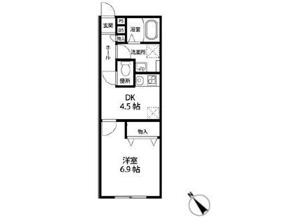 1DK Apartment to Rent in Chiba-shi Chuo-ku Floorplan