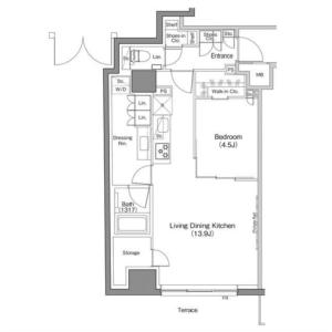 1LDK Mansion in Suidocho - Shinjuku-ku Floorplan