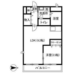1LDK Apartment in Kaijin - Funabashi-shi Floorplan
