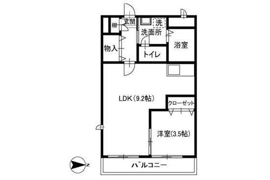 1LDK Apartment to Rent in Funabashi-shi Floorplan