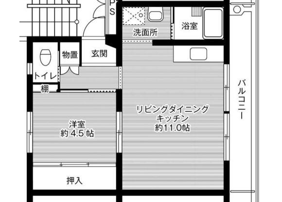 1LDK Apartment to Rent in Sasebo-shi Floorplan