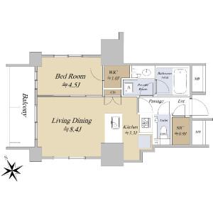 1LDK {building type} in Shimbashi - Minato-ku Floorplan