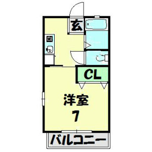 1K Apartment in Zengyo - Fujisawa-shi Floorplan