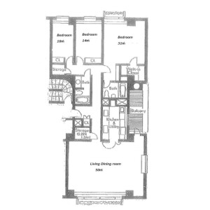 横浜市中区山手町-3LDK公寓 楼层布局