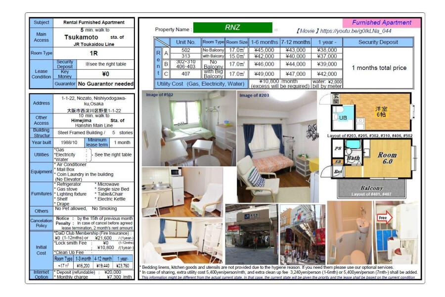 1R Apartment to Rent in Osaka-shi Nishiyodogawa-ku View